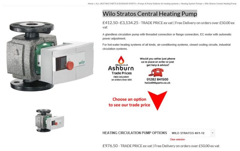wilo central heating pump distributors